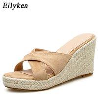 Eillken Hadies повседневная платформа клинья сандалии мода открытый носок соломенный оплетка Rome размер 34-39 женский пляж 210619