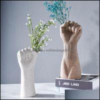 Décor & Gardennordic Vase Hand Vases White Arm Dried Flowers Modern Home Decor Room Vintage Decoration Ceramics Drop Delivery 2021 Phuyg