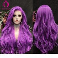 Oley haar lila wig glueless synthetische spitze frontperücke wärmebeständig mit natürlichen hairline rosa wigs für schwarze weiße frauen
