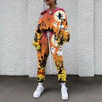 할로윈 마녀 패턴 여성 바지 가을과 겨울 여성 운동복 두꺼운 양털 코튼 슈트 2 피스 스웨터 바지 정장