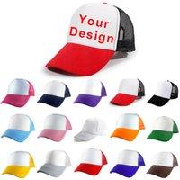 사용자 정의 인쇄 모자 여성 소녀의 DIY PO 로고 브랜드 폴리 에스터 야구 모자 빈 메쉬 조정 가능한 남자 소년의 캐주얼 아이의 넓은 모자