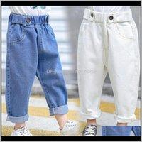 Kind Infant Blau 7 Jahre Kinder Jeans Für Mädchen Lose Elastische Taille Weiß Denim Hosen Beine Mode Jungen F35 1 Byf5