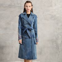 Long coat female fashion in Europe and America in 2021 autumn outfit new embroidery double-breasted cowboy coat of cultivate one's morality