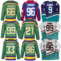 Mighty Ducks Jersey 66 Gordon Bombaim 96 Charlie Conway 99 Adam Banks 9 Paul Kariya Hóquei Jerseys Mens Filme Branco Verde Verde