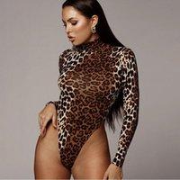 Women's Jumpsuits & Rompers Women Sexy Leopard Bodycon Bodysuit Long Sleeve Ladies Turtleneck Bandage Body Suit Skinny Jumpsuit One-piece Fe