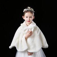 Jackets Flower Girls Thicken Plush Bolero Shrug Princess White Faux Fur Coat Shoulder Cape Wedding Dress Shawl Wraps Stole Bowknot
