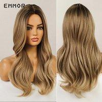Синтетические парики Emmor Long Brown с блондинкой для женщин натуральные пушистые волосы волнистые термостойкие женские волны парик косплей вечеринка