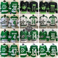 Dallas Stars Jersey Hockey 14 Jamie Benn 91 Tyler Seguin 4 Miro Heiskanen 24 Roope Hintz 30 Ben Bishop 47 Alexander Radulov Black Out Green Stanley Cup