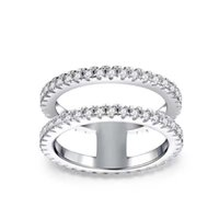 Charm Fashion Simple Ring with Side Stones for Women Solid Color Rhinestone Row Rings Wedding Party Bridal Jewelry