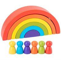 Enfants Bâtiment en bois Bloc Rainbow Arch Kindergarten Enfants Infirmière Intelligence Blocs de bâtiment Education Education Technologie Toys parentales 2RH J2