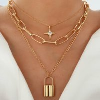 New Vintage Retro Rhinestones Statement Necklaces Multilayer Charm Alloy Lock Eight-pointed Star Pendants Sweater Chains Accessories Fashion Jewelry For Women