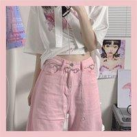Women's Jeans Women Pink Wide Leg Pants High Waist Heart-shaped Chain Wild Fashion Summer Kawaii Trousers Vintage Streetwear