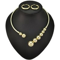 Earrings & Necklace Copper Necklaces Set Statement Beads Metal Torques Choker For Women Fashion Jewelry Sets Collier UKEN