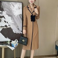 Women's Wool & Blends Windbreaker Middle And Long Style Early Autumn 2021 Suit Lapel Dress Hand Nailed Bow