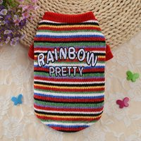 Dog Apparel Pet Autumn And Winter Warm Costume 2-legged Knitting Colorful Rainbow Sweater For Small Medium Dogs 2021,