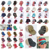 Criss Cross Ponytail Cappelli 53 Stili Donna Lavato Mesh Red Sunflower Plaid Buffalo Leopard Messy Bun Baseball Cap Outdoor Trucker Cappello Zza3136