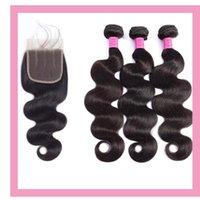 Onda do corpo 5x5 fechamento de renda com 3 pacotes Malásia Extensões de cabelo humano virgem duplas com cinco por cinco top fechamento 4 pcs cor natural