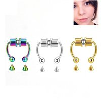 Falso piercing nariz anel liga nariz piercing piercing septo septo para homens mulheres presentes jóias moda magnetic falsificante piercing 947 T2