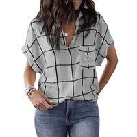 Women's Blouses & Shirts Women Retro V Neck Short Sleeve Tops Fashion Pullover Plaid Print Ladies Blouse 2021 Chic Casual Blusa Streetwear D