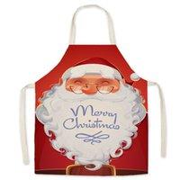 Christmas Santa Claus Apron Linen Print Xmas Tree Elk Aprons Home Baking Restaurant Cooking Pinafore Creative Kitchen Tools WZG HP0747