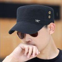 Fashion Metal label military cap Men Women Cotton Flat Top Hat solid color outdoor casual Sun Visor casquette gorras militares
