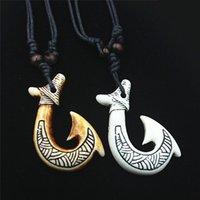 Fishhook имитация кости ожерелье подвеска новая Зеландия этнический племенной стиль маори рыболовные подвески оптом