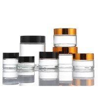 Clear Glass Jar Bottle With Black Gold Cap Food Grade Non-Stick for Cream Cosmetics Wax Dab Jars Concentrate Container 5 10 15 20 30 50ml SN5648