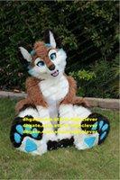 Marrom longo pele peluda raposa fox husky cão lobo fursuit mascote traje adulto personagem de desenho animado outfit bem vestido bem-estar público zz7588
