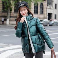 2021 New Winter Down Jacket Donne Breve moda Casual Bianco Duck Down Cappotto femminile Cappotto Inverno Caldo Solido Colore Singolo Outwear B07441