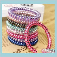 Bands Jewelry Ring Telephone Wire Cord Punk Rubber Coil Elastic Band Ties Rope Women Girls Headwear Hair Accessories Scrunchies Drop D