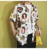 Camicie casual da uomo 2021 Hawaiian For Men Giapponese Geisha Funny Stampato Bianco Rosa Bianco Casellaio coreano