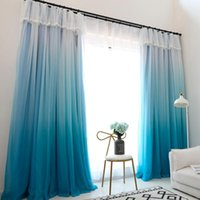 Curtain & Drapes Change Color Gradient Blue Window High Black Out Double Layer Blackout Lining Fabric For Living Room