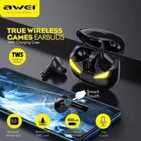 AWEI T35 게임용 이어폰 TWS 손 낮은 대기 시간 hifi 깊은베이스 사운드 진정한 무선 무선 무선 스테레오 이어폰
