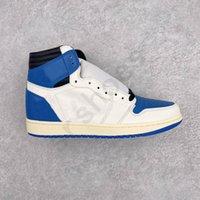 الكلاسيكية ts شظية تصميم 1 ثانية عالية og sp العسكرية الأزرق أحذية الرجال كرة السلة حذاء رياضة أبيض jumpman 1 منخفضة dunks ترافي أحذية رياضية المطاط وحيد المدربين الرياضة حجم 40-46