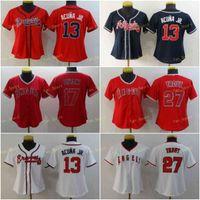 Mujeres 13 Ronald Acuna JR Jerseys de béisbol en blanco 17 Shohei Ohtani 27 Mike Trout Blue White White Rojo Gris Stitched S-2XL