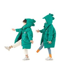 Girls Boys Down Coat Winter Kids Coats Children Outwear Childrens Clothes Jackets Hooded Loose Child Jacket Clothing Warm Long Dinosaur B8598