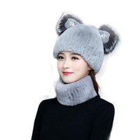 Hats, Scarves & Gloves Sets 100% Fur Hat And Scarf Set With Diamond Cat Ears Warm Ladies Listed