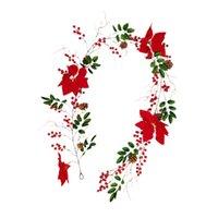 Декоративные Цветы Венки 1 Штам Рождественские Ротан Орнамент Искусственные Висячие Винограждения Имитация Красные Ягоды Зеленые Листья Сосновые шишки Cane Home D