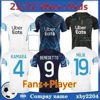 Marsilya Hayranları Oyuncu Futbol Forması Olympique De 21 22 OM 2021 2022 Maillot Ayak Kupa Guendouzi Benedetto Kamara Payet Futbol Gömlek Erkekler + Çocuklar Kiti