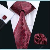 Шея галстуки мода аксессуары классические красные черные шансы запонки жаккардовые тканые мужские галстуки набор бизнес-работа формальный N0554 Drop Доставка 2