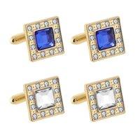 Altın Kristal Kol Düğmeleri Erkekler Kare Zirkon Örgün İş Gömlek Manşet Bağlantıları Düğme Moda Takı Will ve Sandy Yeni