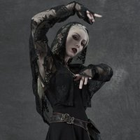 Women's Jackets Gothic Embroidery Net Lace Sunscreen Shirt Loose Hooded Summer Thin Cardigan Coat