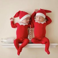 Newborn Knot Hat and Pajama Set Night Cap Footie Romper Christmas Elf Outfit