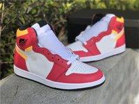 Новый лучший аутентичный воздух аутентичные 1 высокий og светлый слияние красные спортивные туфли белые лазерные оранжевые черные мужчины женские упражнения кроссовки с коробкой