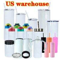 Us Warehouse Sublimation Straight Tumbler Mason Jar Frasco em Copos Sippy Dark Cups Garrafa de Água Conjunto De Campismo Caneca Aço Inoxidável