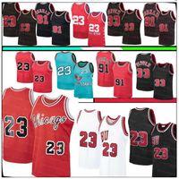 Retro 23 MJ Jersey Scottie 33 Pippen Jerseys Dennis 91 Rodman Jersey 1996 Herren Retro Mesh Basketball-Trikots S-XXL