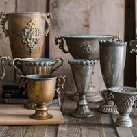 Klasik Kadeh Çiçek Retro Vazo Nostaljik Ferforje Altın Gümüş Saksı Evler Için Metal Vazolar Düğün Masa Vazo SH190925
