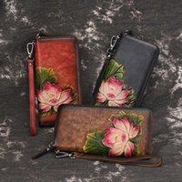 Wallets Women Vintage Wallet Female Purse Leather Long Coin Card Holder Money Clutch Wristlet Multifunction Zipper