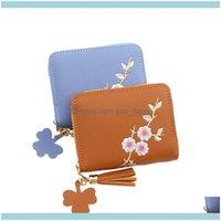 Bags Storage Housekeeping Organization Home & Garden Flower Embroidery Tassel Pendant Short Wallet Girls Zipper Purse Change Id Coin Pocket