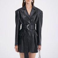 PU Leather Jacket For Women V Neck Long Sleeve High Waist Sashes Temperament Coat Female 2021 Fall Fashion New Style coat
